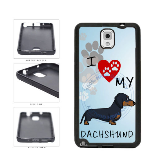 I Love My Dachshund Dog Lover TPU Rubber SILICONE Phone Case Back Cover For Samsung Galaxy Note III 3 N9002 includes BleuReign(TM) Cloth and Warranty Label