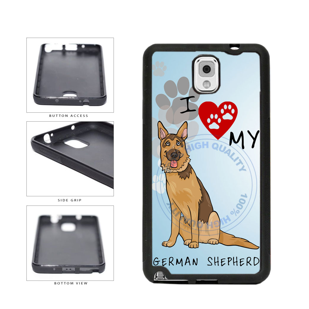 I Love My German Shepherd Dog Lover TPU Rubber SILICONE Phone Case Back Cover For Samsung Galaxy Note III 3 N9002 includes BleuReign(TM) Cloth and Warranty Label