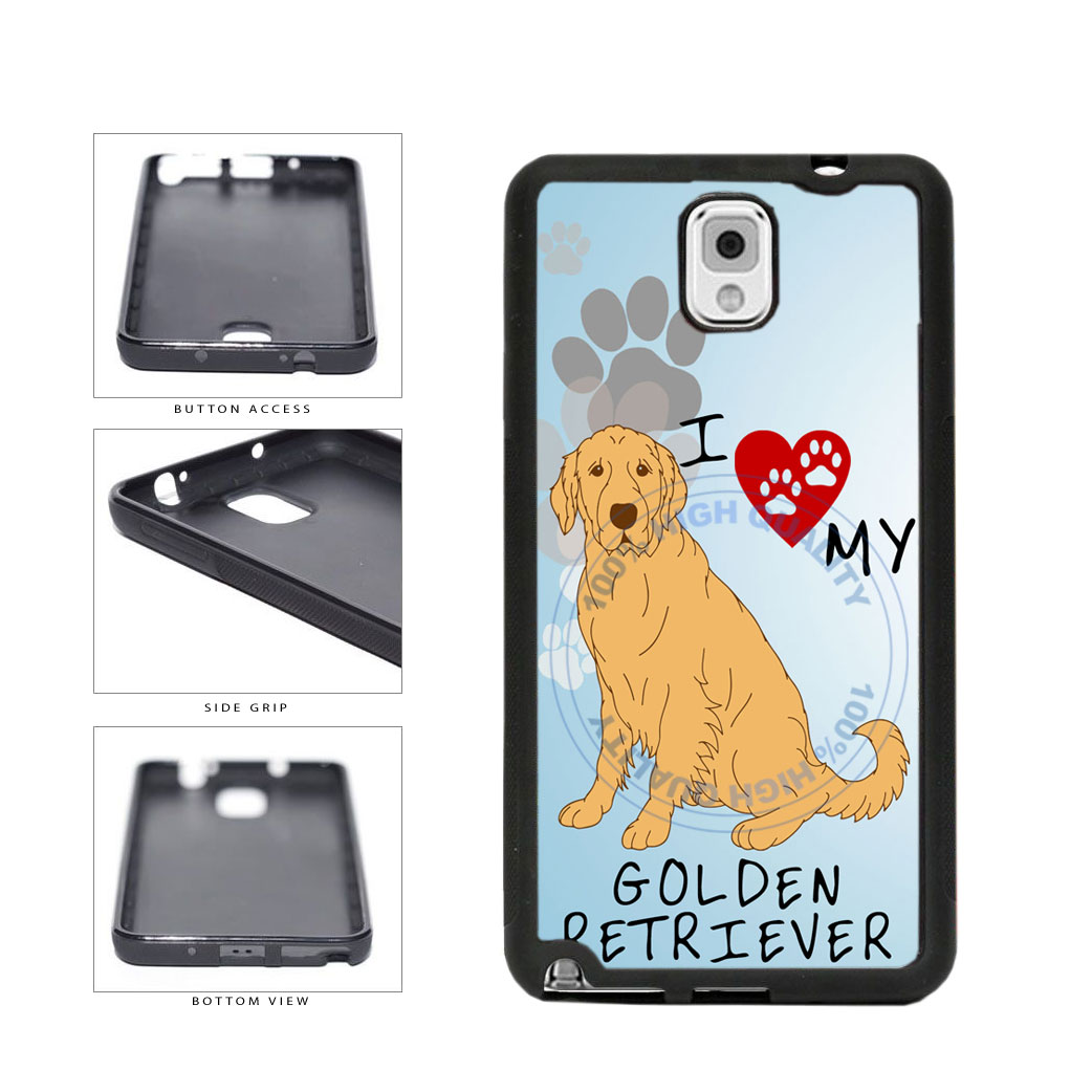 I Love My Golden Retriever Dog Lover TPU Rubber SILICONE Phone Case Back Cover For Samsung Galaxy Note III 3 N9002 includes BleuReign(TM) Cloth and Warranty Label