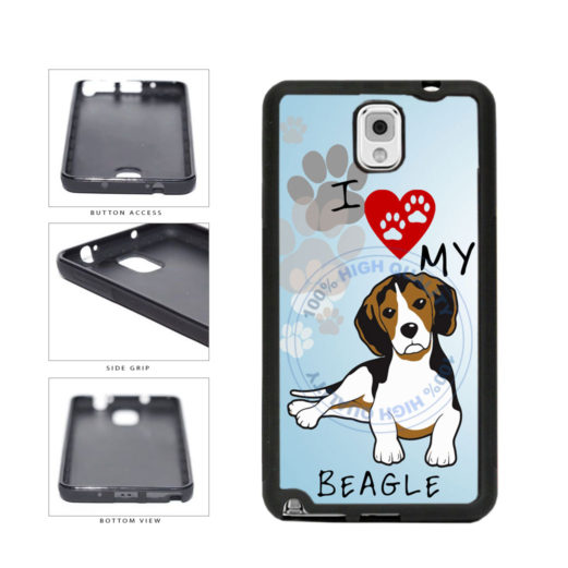 I Love My Beagle Dog Lover TPU Rubber SILICONE Phone Case Back Cover For Samsung Galaxy Note III 3 N9002 includes BleuReign(TM) Cloth and Warranty Label