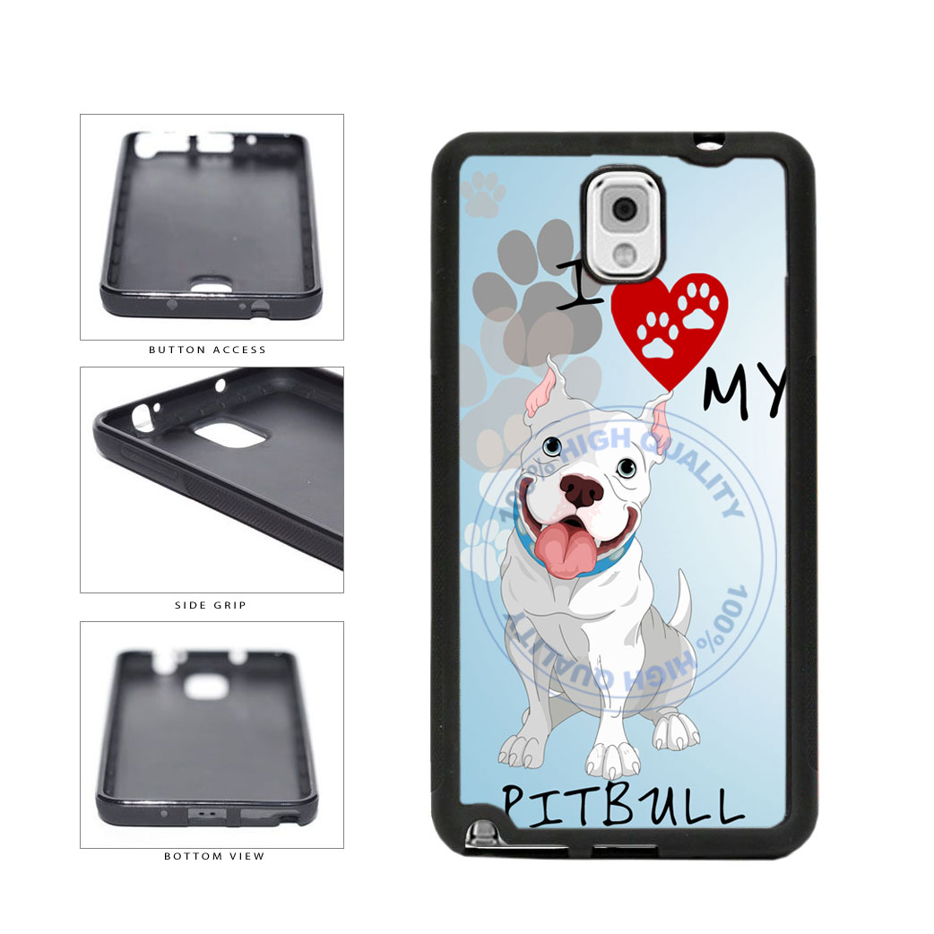 I Love My Pittbull Dog Lover TPU Rubber SILICONE Phone Case Back Cover For Samsung Galaxy Note III 3 N9002 includes BleuReign(TM) Cloth and Warranty Label