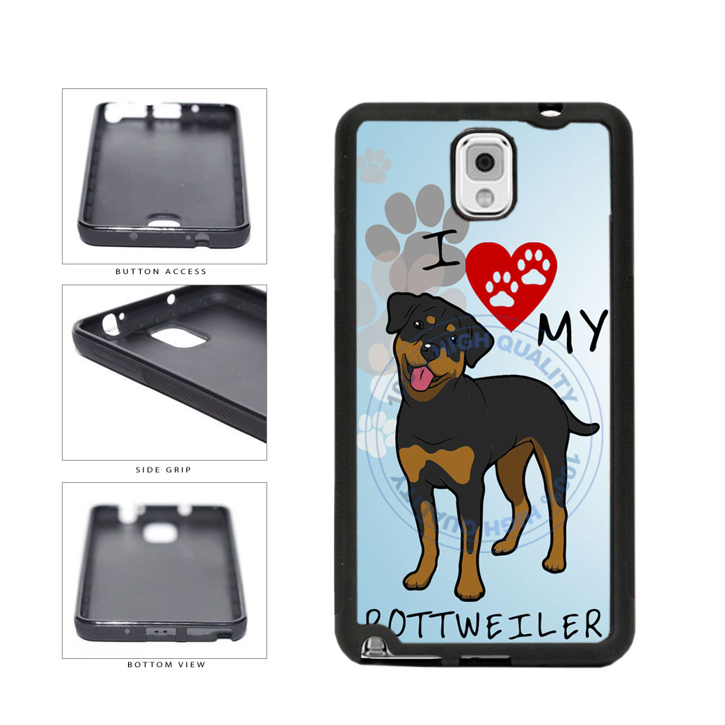 I Love My Rottweiler Dog Lover TPU Rubber SILICONE Phone Case Back Cover For Samsung Galaxy Note III 3 N9002 includes BleuReign(TM) Cloth and Warranty Label