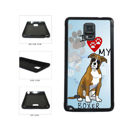 I Love My Boxer Dog Lover TPU Rubber SILICONE Phone Case Back Cover For Samsung Galaxy Note IV 4 N910 includes BleuReign(TM) Cloth and Warranty Label