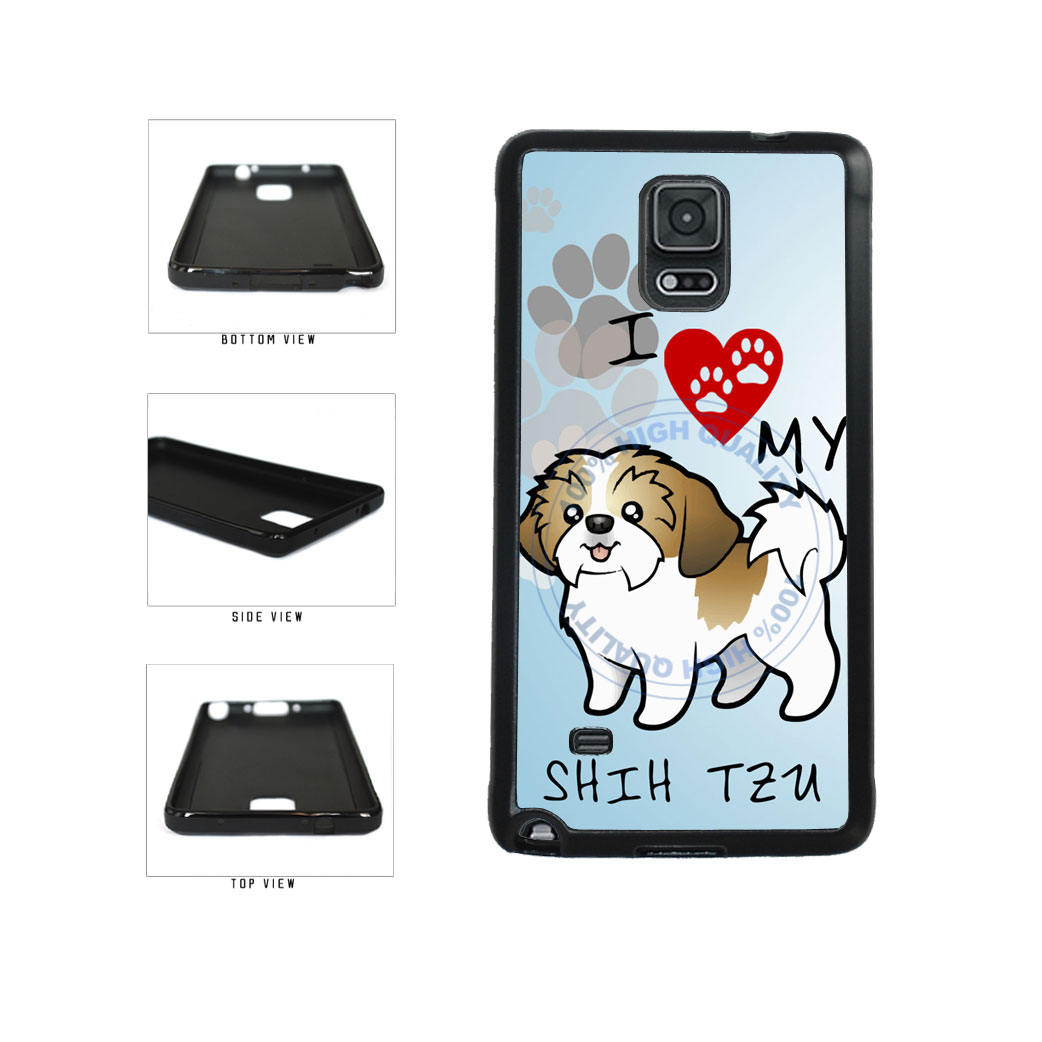 I Love My Shih Tzu Dog Lover TPU Rubber SILICONE Phone Case Back Cover For Samsung Galaxy Note IV 4 N910 includes BleuReign(TM) Cloth and Warranty Label