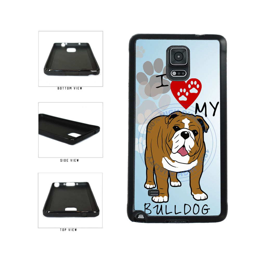 I Love My Bulldog Dog Lover TPU Rubber SILICONE Phone Case Back Cover For Samsung Galaxy Note IV 4 N910 includes BleuReign(TM) Cloth and Warranty Label