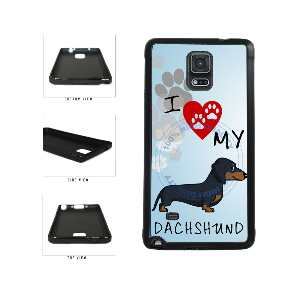 I Love My Dachshund Dog Lover TPU Rubber SILICONE Phone Case Back Cover For Samsung Galaxy Note IV 4 N910 includes BleuReign(TM) Cloth and Warranty Label