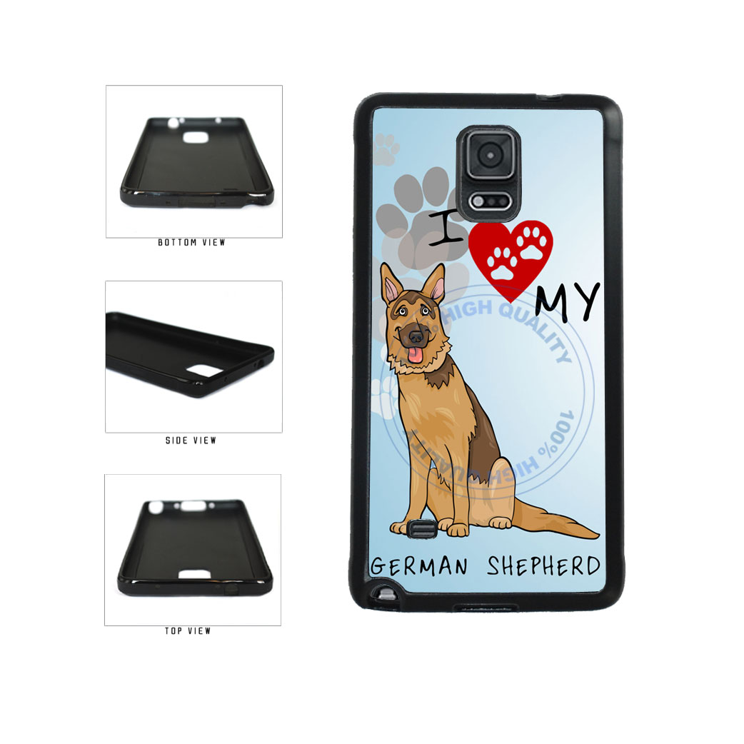 I Love My German Shepherd Dog Lover TPU Rubber SILICONE Phone Case Back Cover For Samsung Galaxy Note IV 4 N910 includes BleuReign(TM) Cloth and Warranty Label