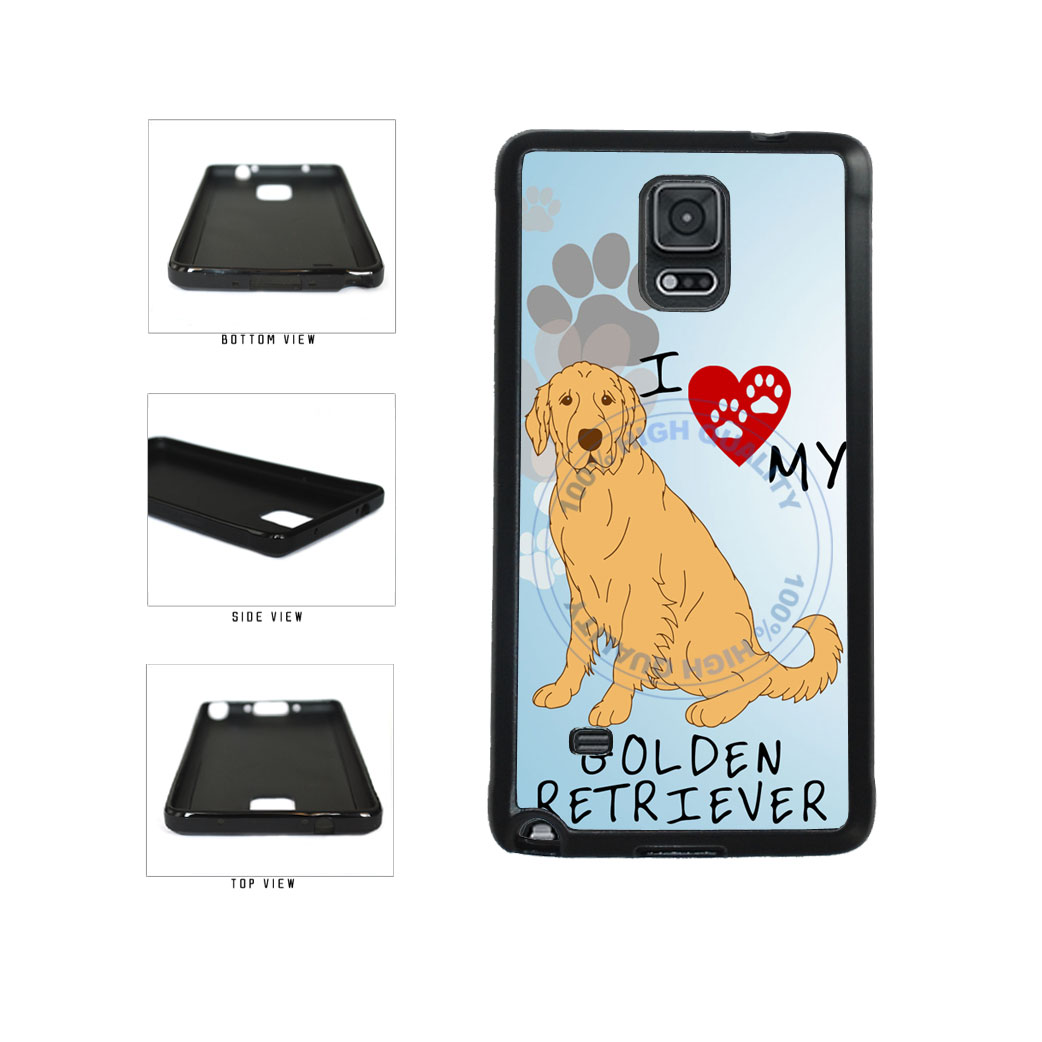 I Love My Golden Retriever Dog Lover TPU Rubber SILICONE Phone Case Back Cover For Samsung Galaxy Note IV 4 N910 includes BleuReign(TM) Cloth and Warranty Label