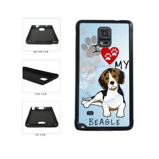 I Love My Beagle Dog Lover TPU Rubber SILICONE Phone Case Back Cover For Samsung Galaxy Note IV 4 N910 includes BleuReign(TM) Cloth and Warranty Label