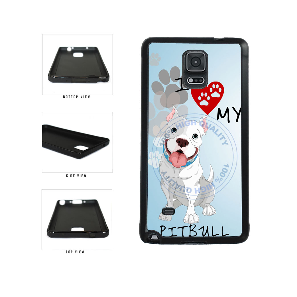 I Love My Pittbull Dog Lover TPU Rubber SILICONE Phone Case Back Cover For Samsung Galaxy Note IV 4 N910 includes BleuReign(TM) Cloth and Warranty Label