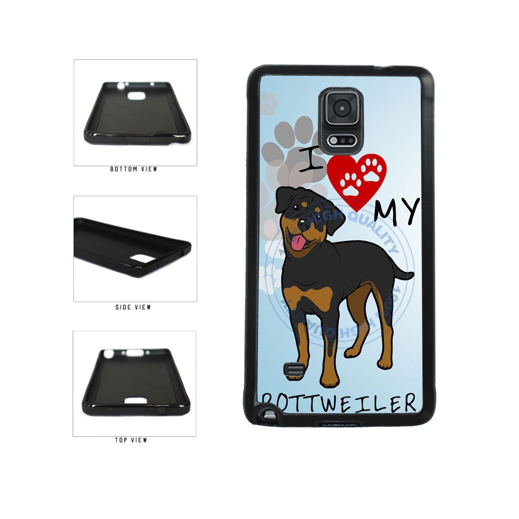 I Love My Rottweiler Dog Lover TPU Rubber SILICONE Phone Case Back Cover For Samsung Galaxy Note IV 4 N910 includes BleuReign(TM) Cloth and Warranty Label