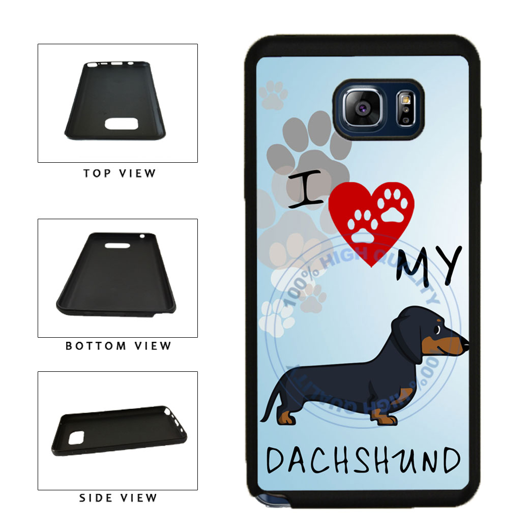 I Love My Dachshund Dog Lover TPU RUBBER SILICONE Phone Case Back Cover For Samsung Galaxy Note V 5 N920 includes BleuReign(TM) Cloth and Warranty Label