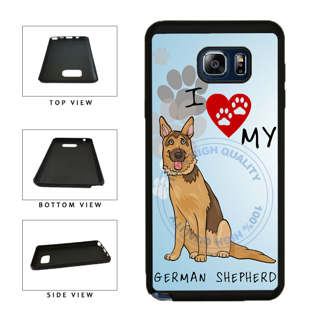I Love My German Shepherd Dog Lover TPU RUBBER SILICONE Phone Case Back Cover For Samsung Galaxy Note V 5 N920 includes BleuReign(TM) Cloth and Warranty Label