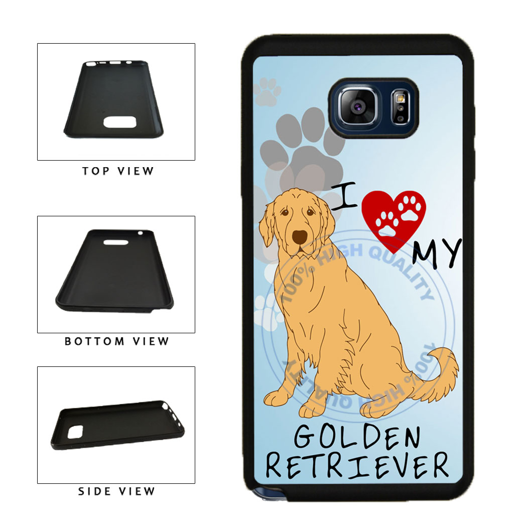 I Love My Golden Retriever Dog Lover TPU RUBBER SILICONE Phone Case Back Cover For Samsung Galaxy Note V 5 N920 includes BleuReign(TM) Cloth and Warranty Label