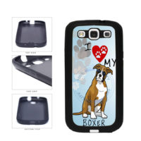 I Love My Boxer Dog Lover TPU Rubber SILICONE Phone Case Back Cover For Samsung Galaxy S3 I9300 includes BleuReign(TM) Cloth and Warranty Label