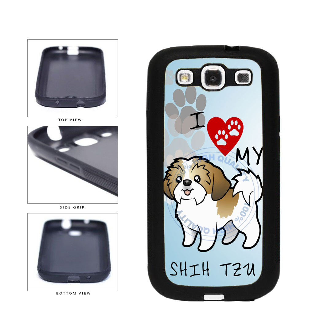 I Love My Shih Tzu Dog Lover TPU Rubber SILICONE Phone Case Back Cover For Samsung Galaxy S3 I9300 includes BleuReign(TM) Cloth and Warranty Label