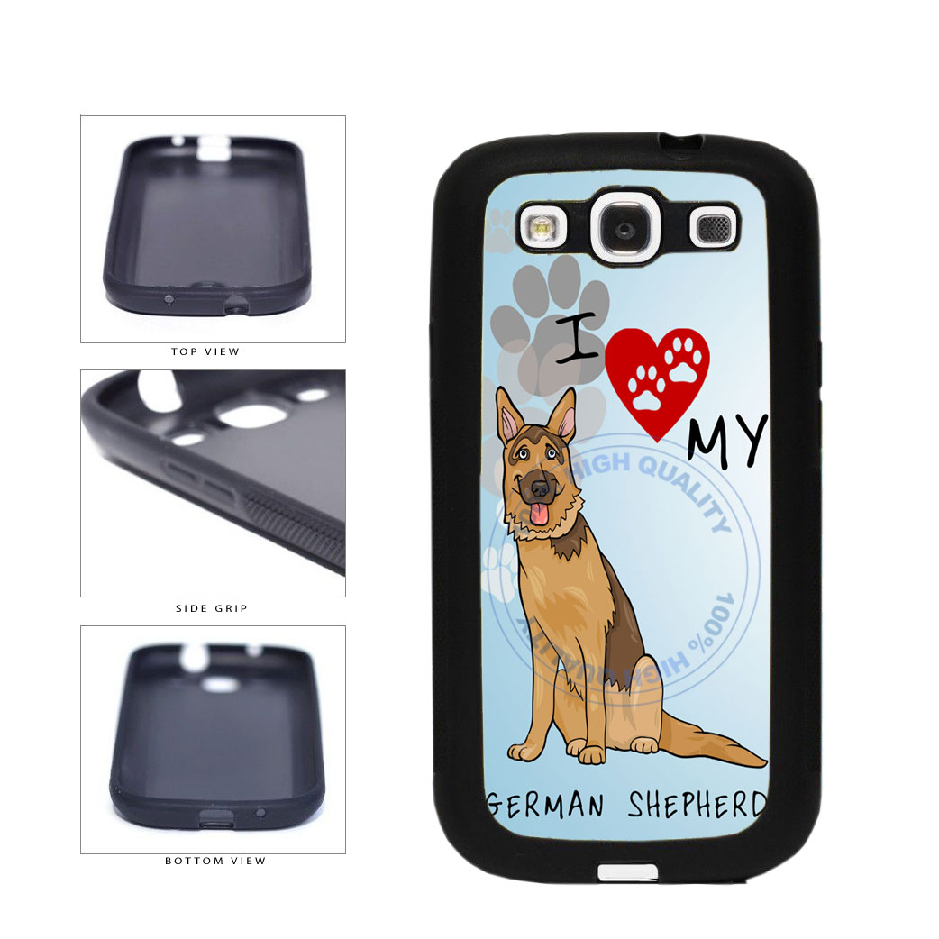 I Love My German Shepherd Dog Lover TPU Rubber SILICONE Phone Case Back Cover For Samsung Galaxy S3 I9300 includes BleuReign(TM) Cloth and Warranty Label