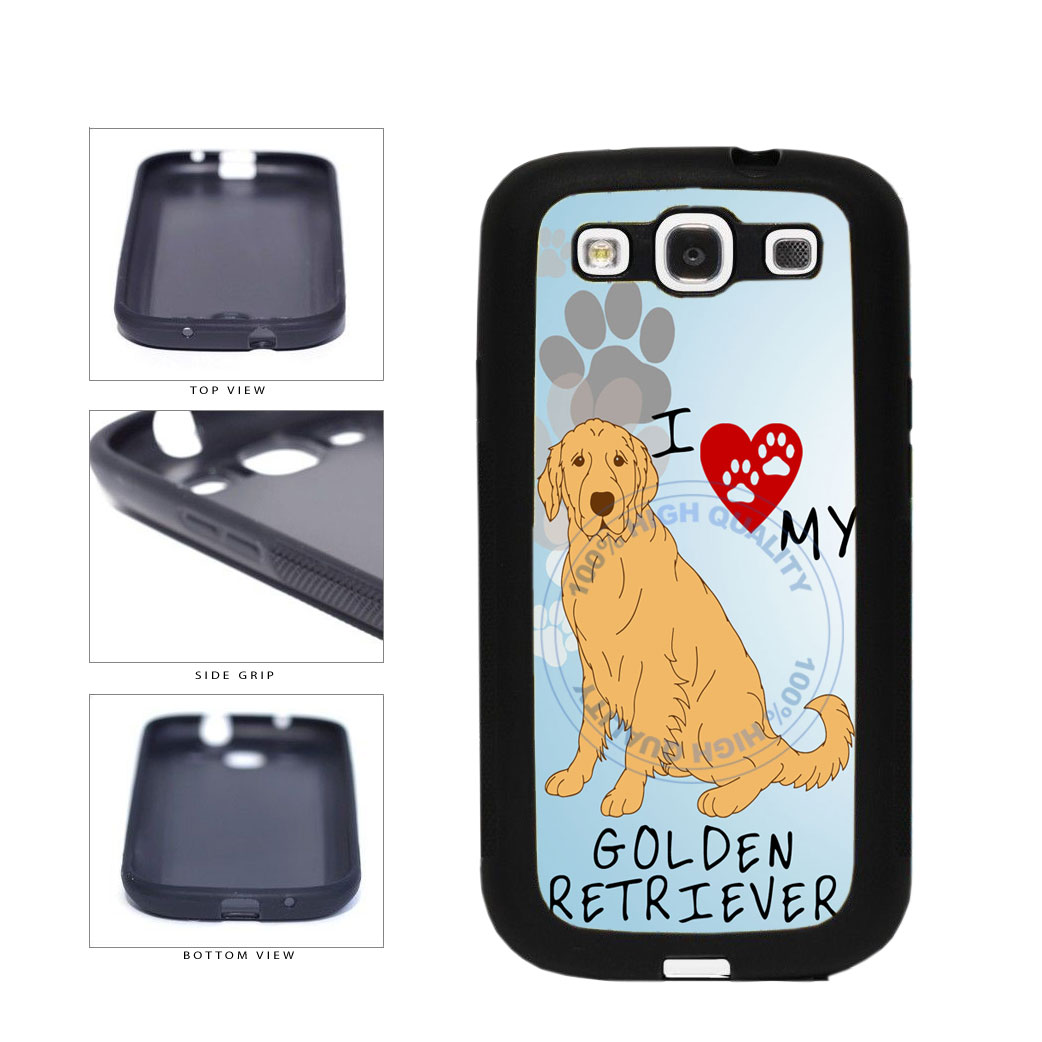 I Love My Golden Retriever Dog Lover TPU Rubber SILICONE Phone Case Back Cover For Samsung Galaxy S3 I9300 includes BleuReign(TM) Cloth and Warranty Label