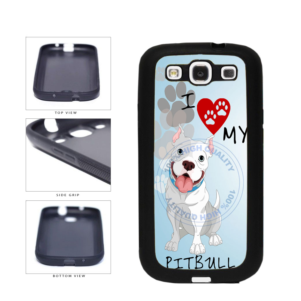 I Love My Pittbull Dog Lover TPU Rubber SILICONE Phone Case Back Cover For Samsung Galaxy S3 I9300 includes BleuReign(TM) Cloth and Warranty Label