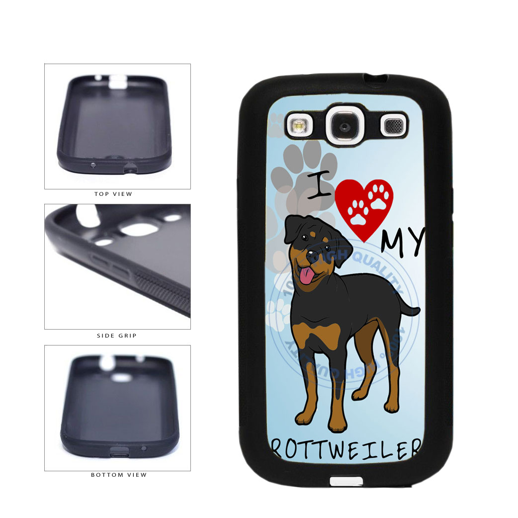 I Love My Rottweiler Dog Lover TPU Rubber SILICONE Phone Case Back Cover For Samsung Galaxy S3 I9300 includes BleuReign(TM) Cloth and Warranty Label