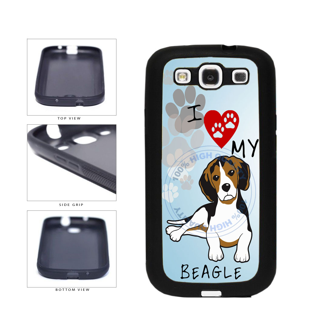 I Love My Beagle Dog Lover TPU Rubber SILICONE Phone Case Back Cover For Samsung Galaxy S3 I9300 includes BleuReign(TM) Cloth and Warranty Label
