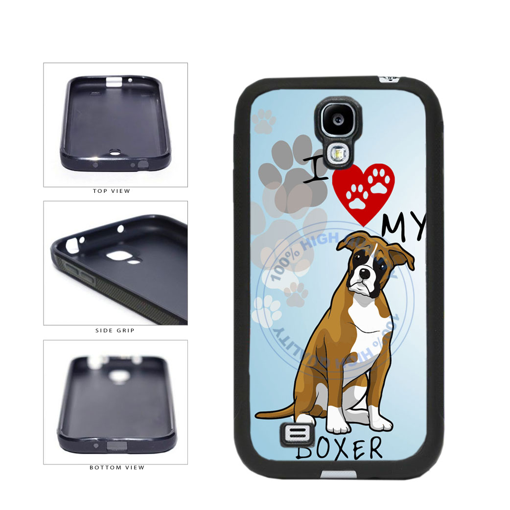 I Love My Boxer Dog Lover TPU Rubber SILICONE Phone Case Back Cover For Samsung Galaxy S4 I9500 includes BleuReign(TM) Cloth and Warranty Label