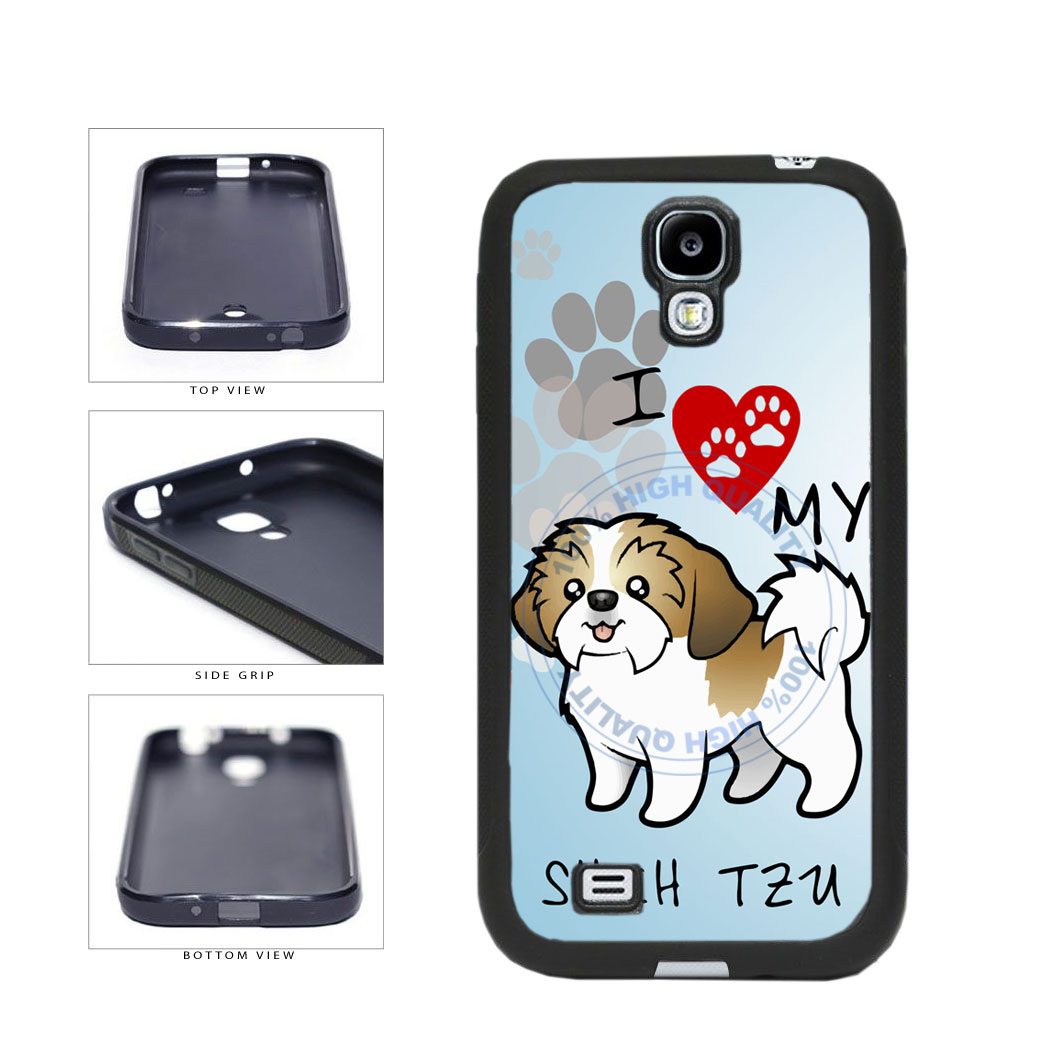 I Love My Shih Tzu Dog Lover TPU Rubber SILICONE Phone Case Back Cover For Samsung Galaxy S4 I9500 includes BleuReign(TM) Cloth and Warranty Label