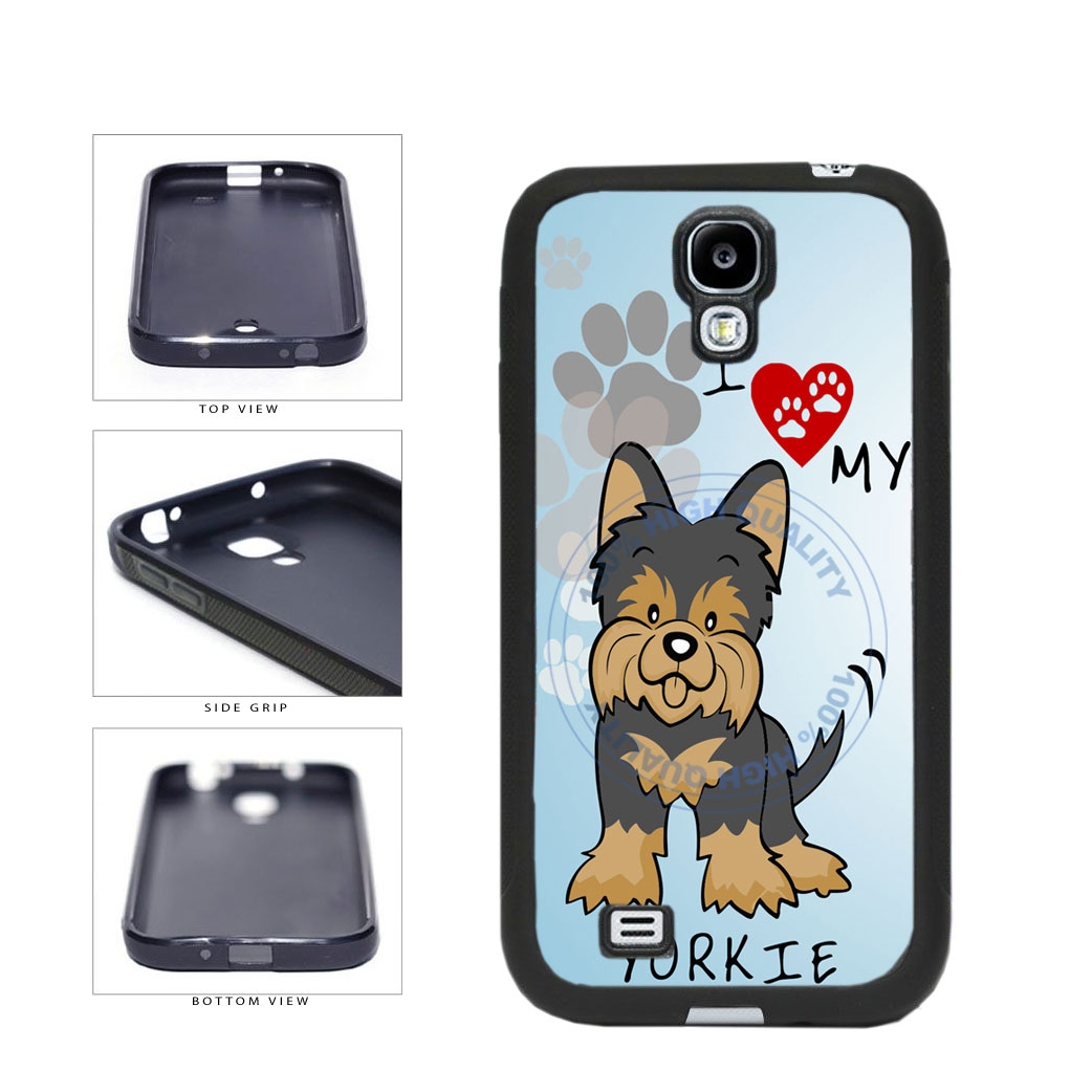I Love My Yorkie Dog Lover TPU Rubber SILICONE Phone Case Back Cover For Samsung Galaxy S4 I9500 includes BleuReign(TM) Cloth and Warranty Label