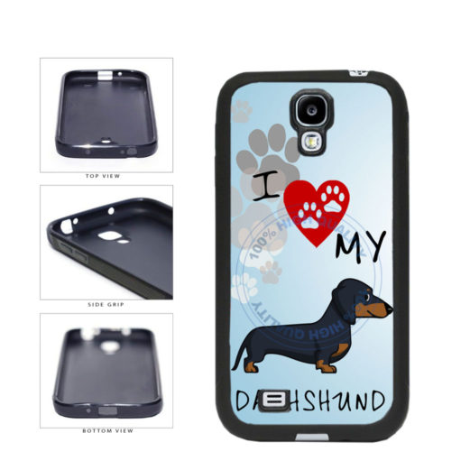 I Love My Dachshund Dog Lover TPU Rubber SILICONE Phone Case Back Cover For Samsung Galaxy S4 I9500 includes BleuReign(TM) Cloth and Warranty Label