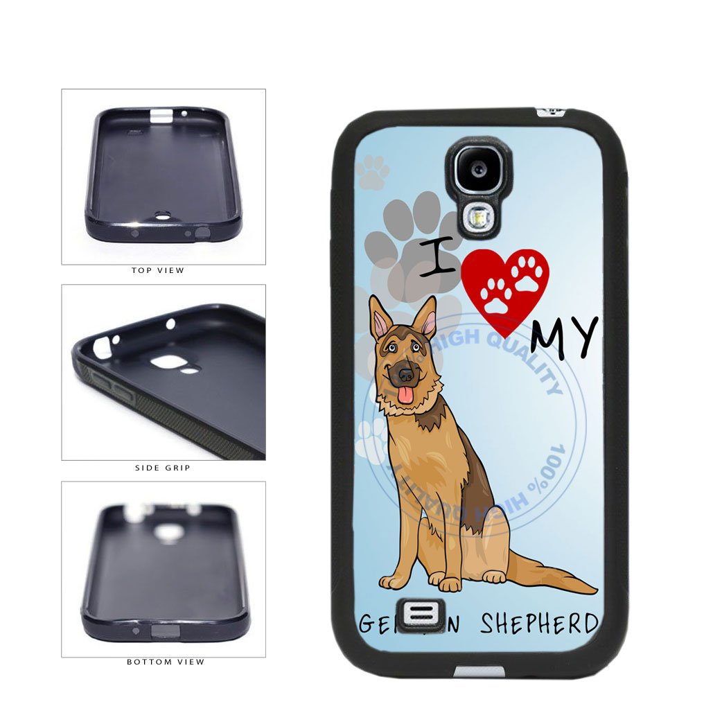 I Love My German Shepherd Dog Lover TPU Rubber SILICONE Phone Case Back Cover For Samsung Galaxy S4 I9500 includes BleuReign(TM) Cloth and Warranty Label