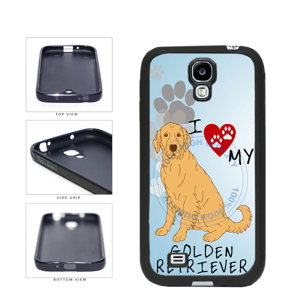 I Love My Golden Retriever Dog Lover TPU Rubber SILICONE Phone Case Back Cover For Samsung Galaxy S4 I9500 includes BleuReign(TM) Cloth and Warranty Label
