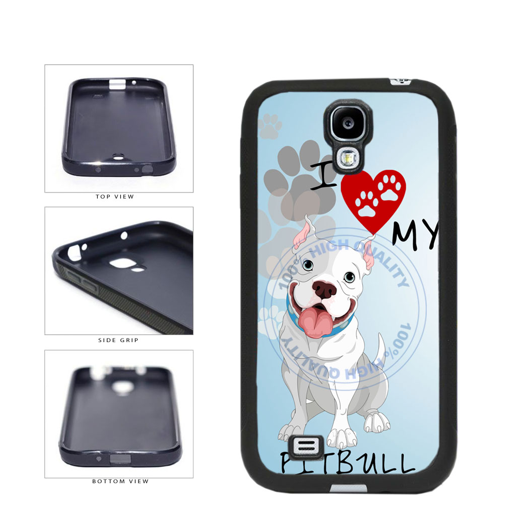 I Love My Pittbull Dog Lover TPU Rubber SILICONE Phone Case Back Cover For Samsung Galaxy S4 I9500 includes BleuReign(TM) Cloth and Warranty Label