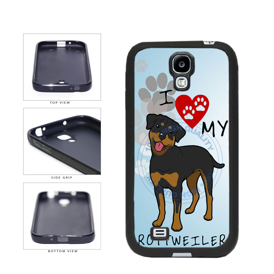 I Love My Rottweiler Dog Lover TPU Rubber SILICONE Phone Case Back Cover For Samsung Galaxy S4 I9500 includes BleuReign(TM) Cloth and Warranty Label