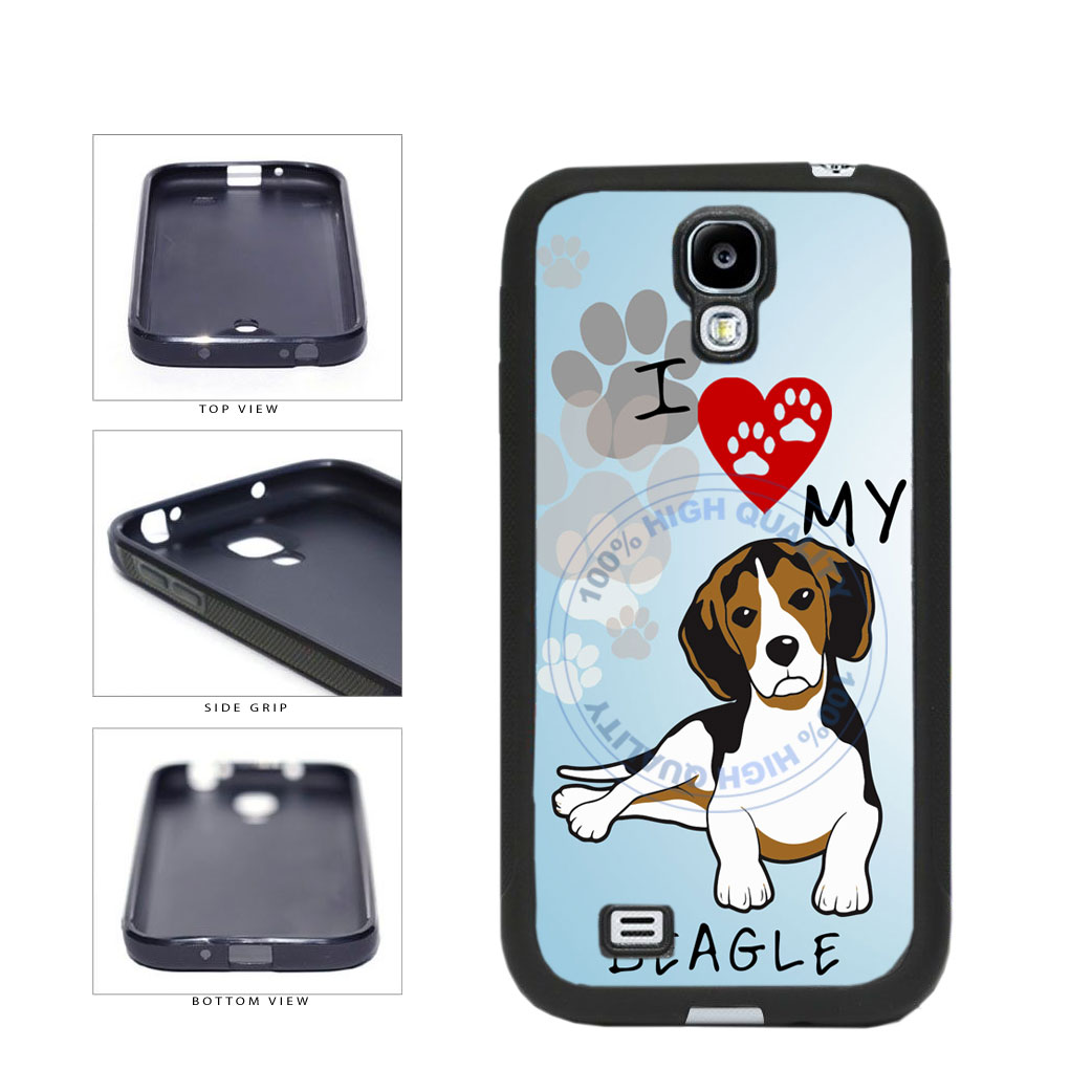 I Love My Beagle Dog Lover TPU Rubber SILICONE Phone Case Back Cover For Samsung Galaxy S4 I9500 includes BleuReign(TM) Cloth and Warranty Label
