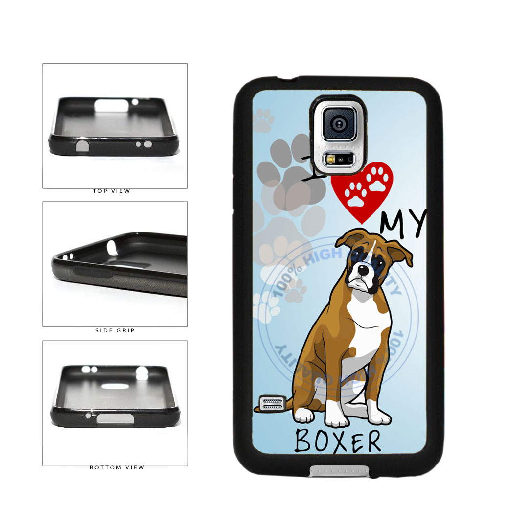 I Love My Boxer Dog Lover TPU Rubber SILICONE Phone Case Back Cover For Samsung Galaxy S5 I9600 includes BleuReign(TM) Cloth and Warranty Label