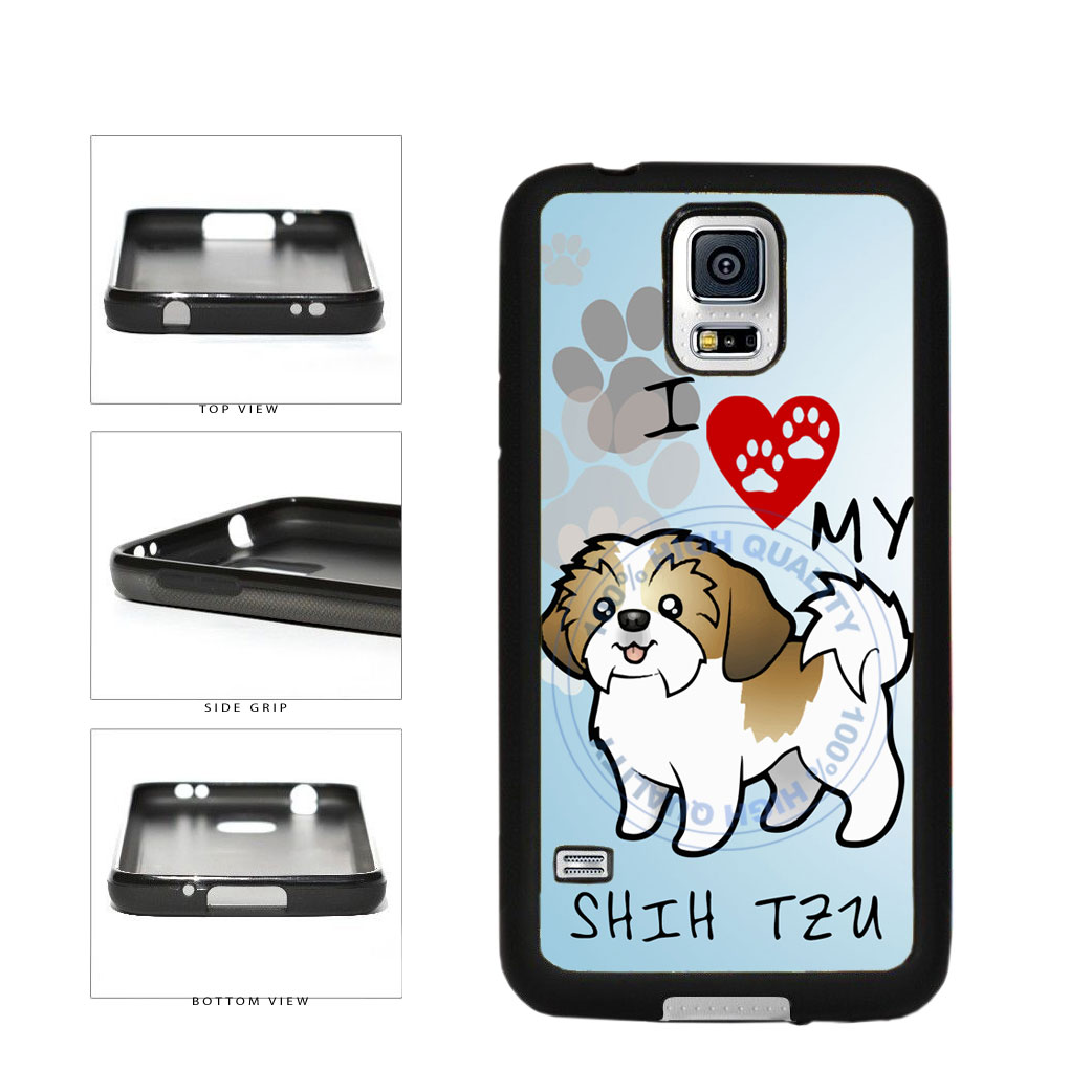 I Love My Shih Tzu Dog Lover TPU Rubber SILICONE Phone Case Back Cover For Samsung Galaxy S5 I9600 includes BleuReign(TM) Cloth and Warranty Label