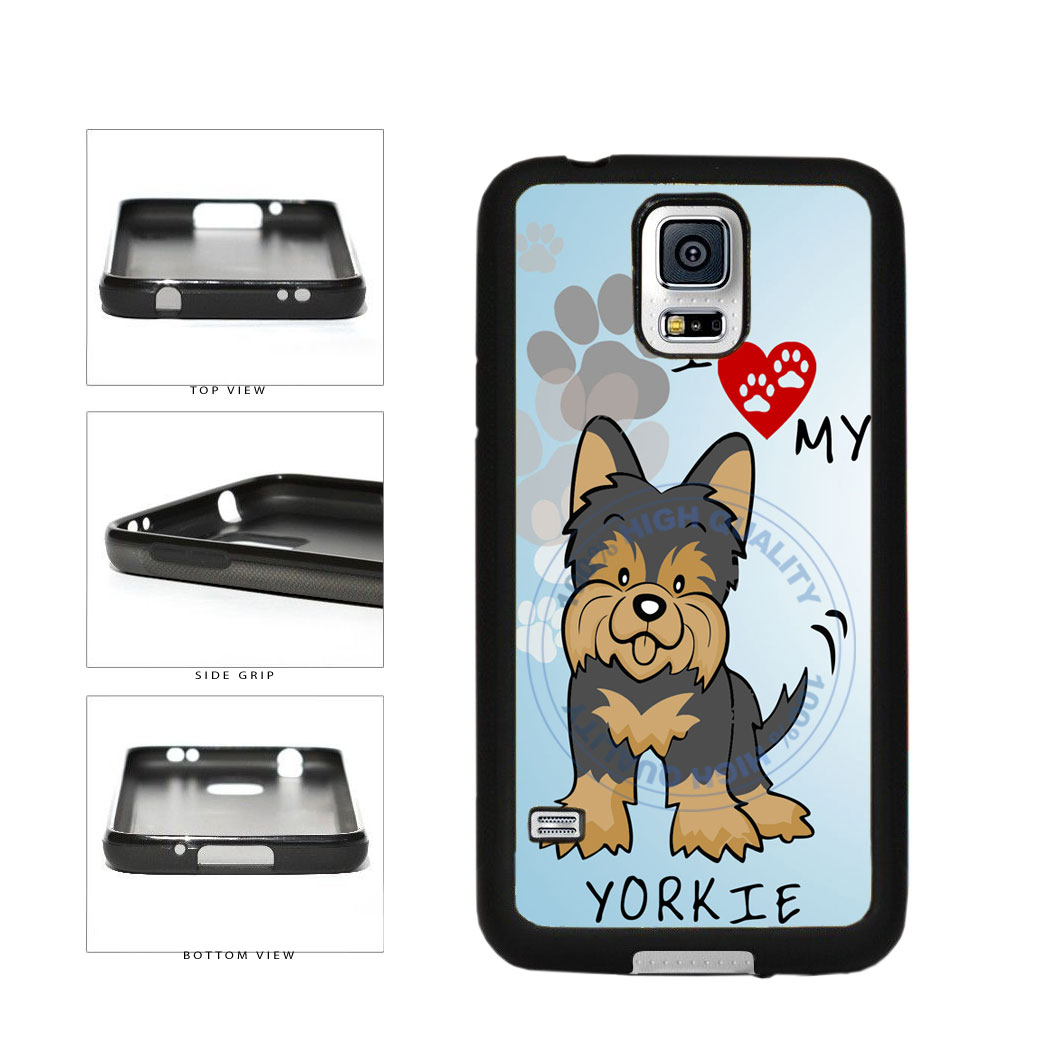 I Love My Yorkie Dog Lover TPU Rubber SILICONE Phone Case Back Cover For Samsung Galaxy S5 I9600 includes BleuReign(TM) Cloth and Warranty Label