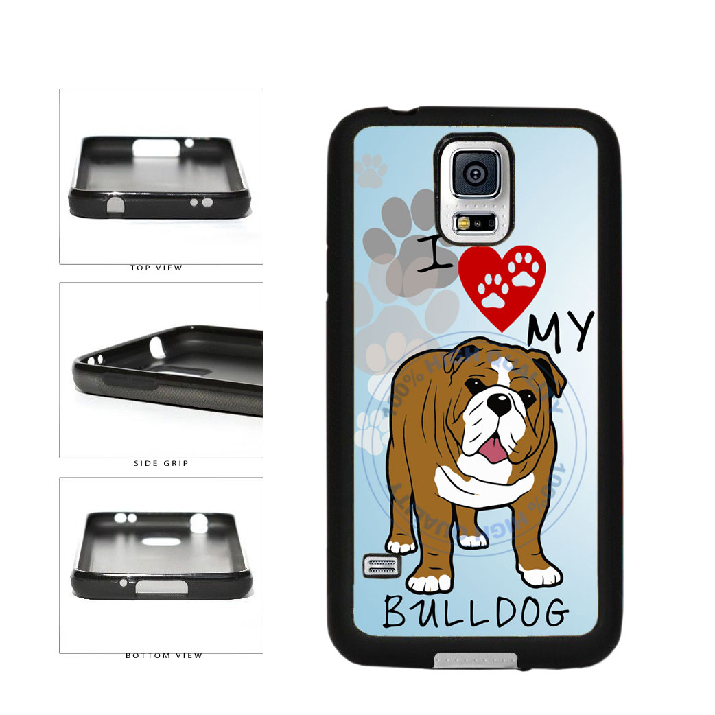 I Love My Bulldog Dog Lover TPU Rubber SILICONE Phone Case Back Cover For Samsung Galaxy S5 I9600 includes BleuReign(TM) Cloth and Warranty Label