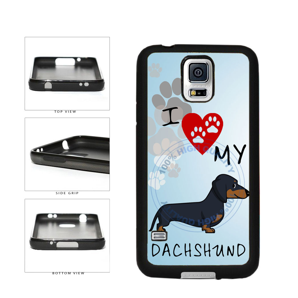 I Love My Dachshund Dog Lover TPU Rubber SILICONE Phone Case Back Cover For Samsung Galaxy S5 I9600 includes BleuReign(TM) Cloth and Warranty Label