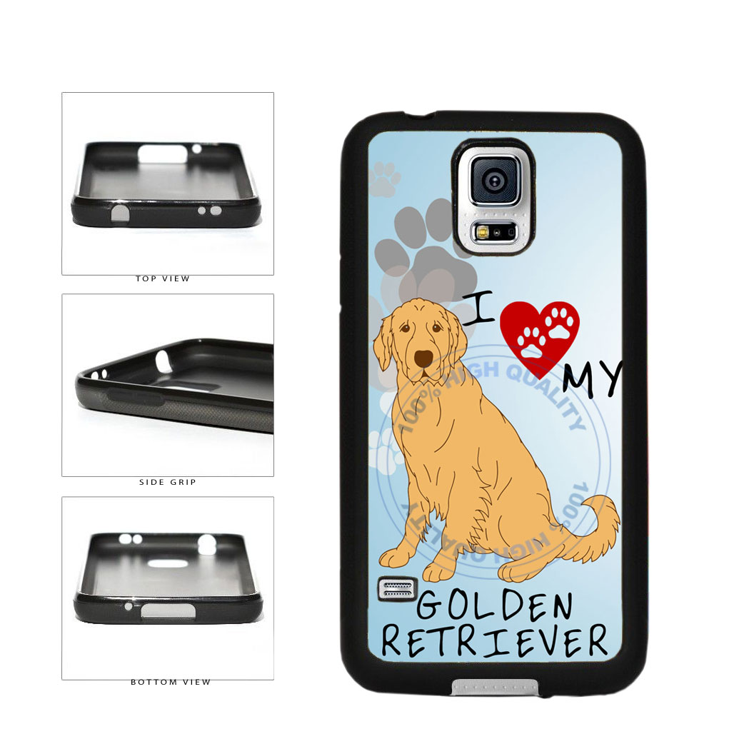 I Love My Golden Retriever Dog Lover TPU Rubber SILICONE Phone Case Back Cover For Samsung Galaxy S5 I9600 includes BleuReign(TM) Cloth and Warranty Label