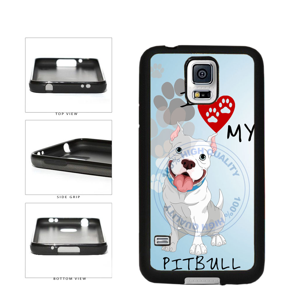 I Love My Pittbull Dog Lover TPU Rubber SILICONE Phone Case Back Cover For Samsung Galaxy S5 I9600 includes BleuReign(TM) Cloth and Warranty Label