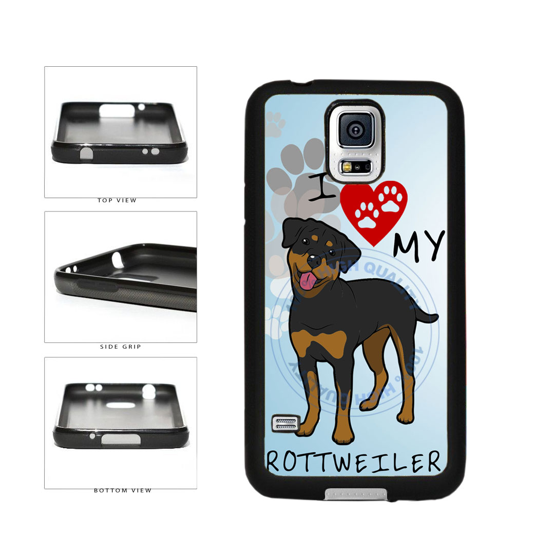 I Love My Rottweiler Dog Lover TPU Rubber SILICONE Phone Case Back Cover For Samsung Galaxy S5 I9600 includes BleuReign(TM) Cloth and Warranty Label