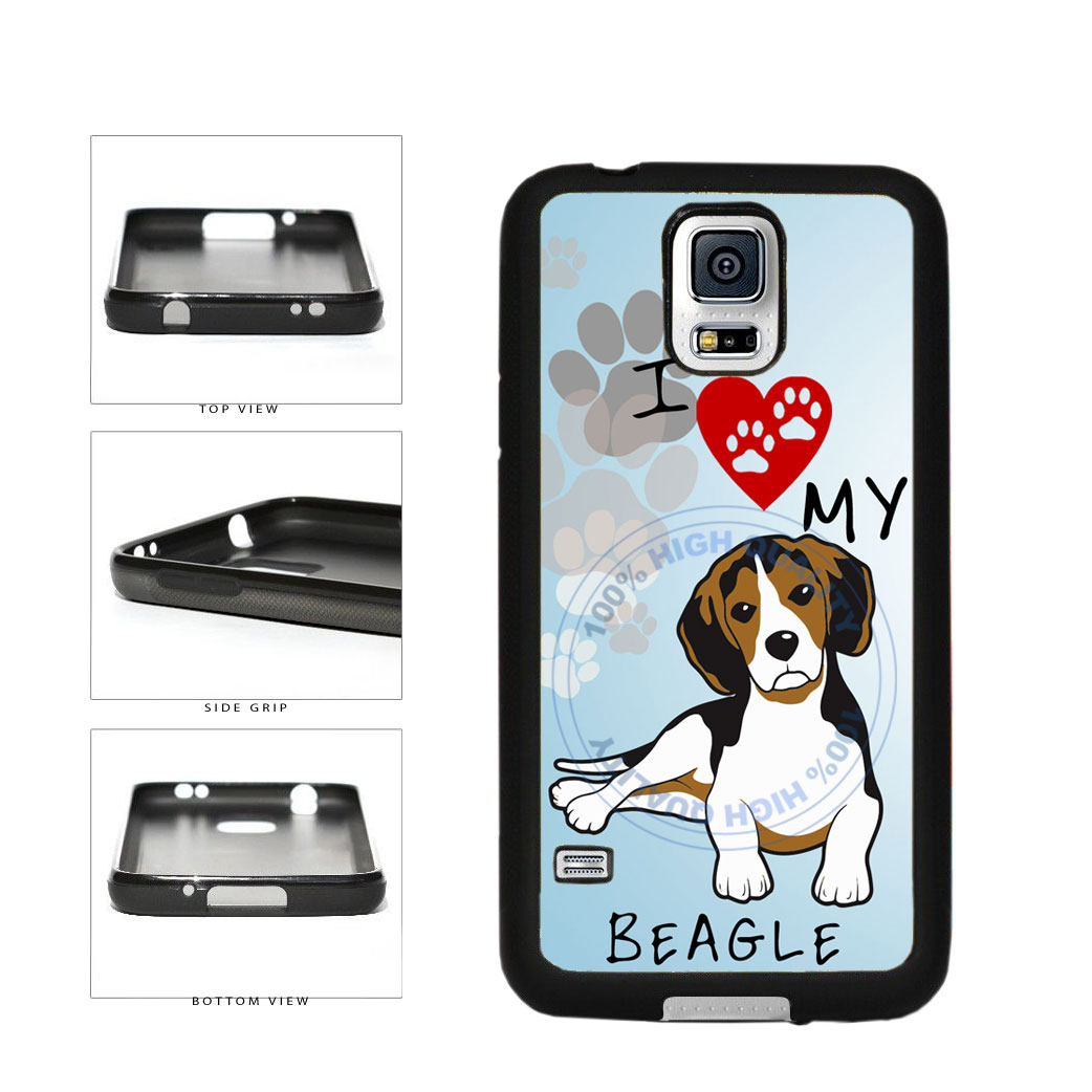 I Love My Beagle Dog Lover TPU Rubber SILICONE Phone Case Back Cover For Samsung Galaxy S5 I9600 includes BleuReign(TM) Cloth and Warranty Label