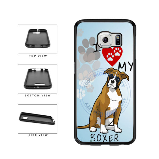 I Love My Boxer Dog Lover TPU Rubber SILICONE Phone Case Back Cover For Samsung Galaxy S6 G920 includes BleuReign(TM) Cloth and Warranty Label