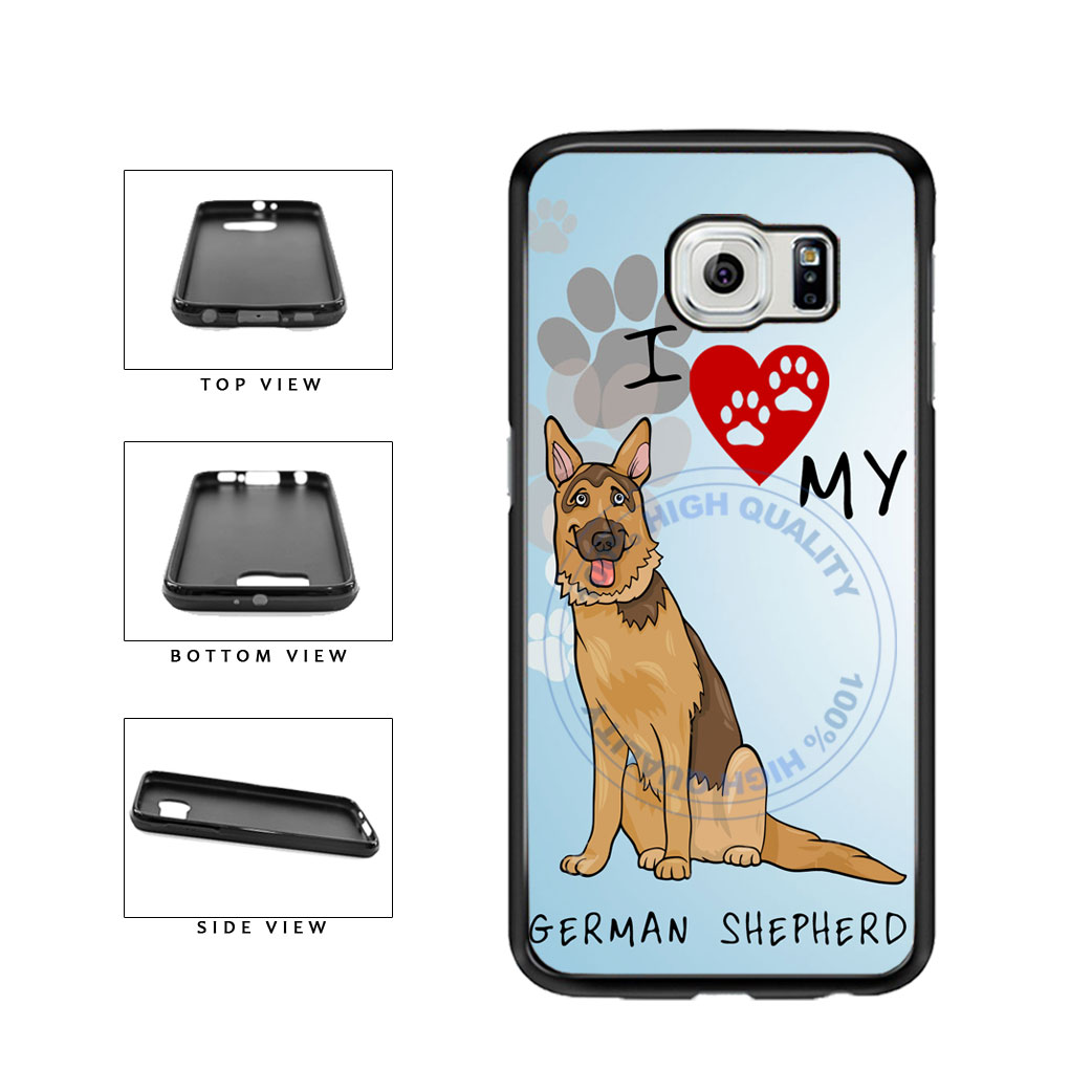 I Love My German Shepherd Dog Lover TPU Rubber SILICONE Phone Case Back Cover For Samsung Galaxy S6 G920 includes BleuReign(TM) Cloth and Warranty Label