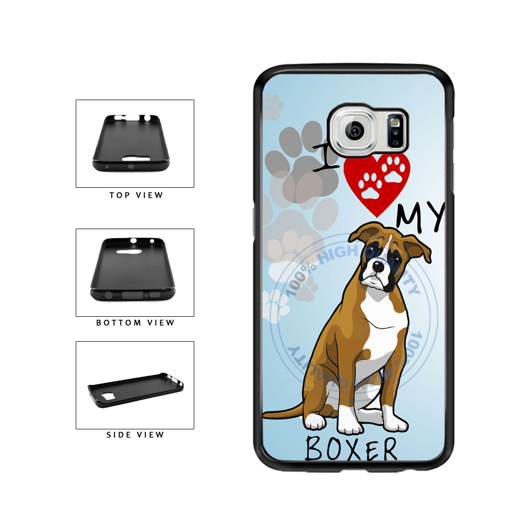 I Love My Boxer Dog Lover TPU Rubber SILICONE Phone Case Back Cover For Samsung Galaxy S6 Edge G925 includes BleuReign(TM) Cloth and Warranty Label