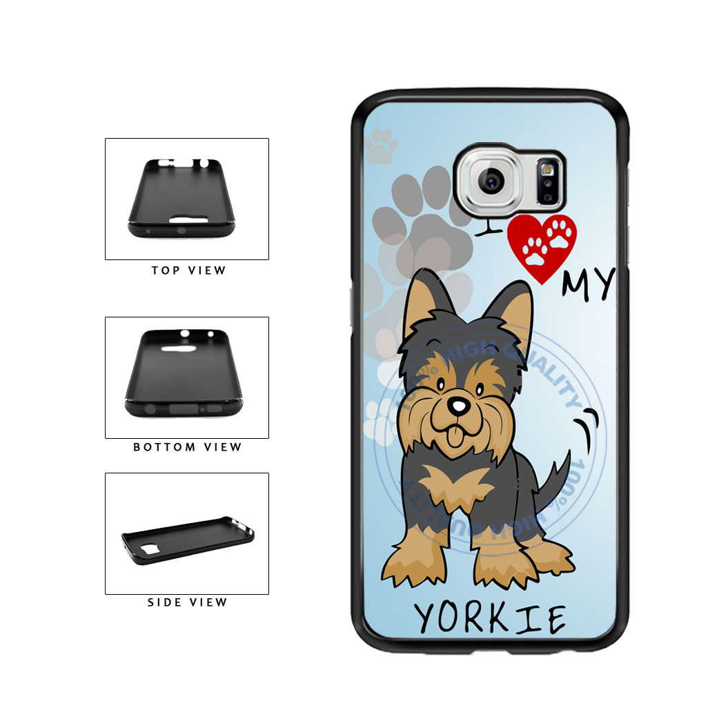 I Love My Yorkie Dog Lover TPU Rubber SILICONE Phone Case Back Cover For Samsung Galaxy S6 Edge G925 includes BleuReign(TM) Cloth and Warranty Label