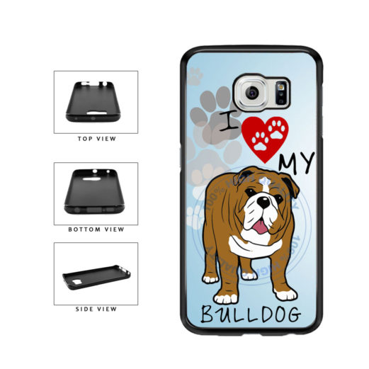 I Love My Bulldog Dog Lover TPU Rubber SILICONE Phone Case Back Cover For Samsung Galaxy S6 Edge G925 includes BleuReign(TM) Cloth and Warranty Label