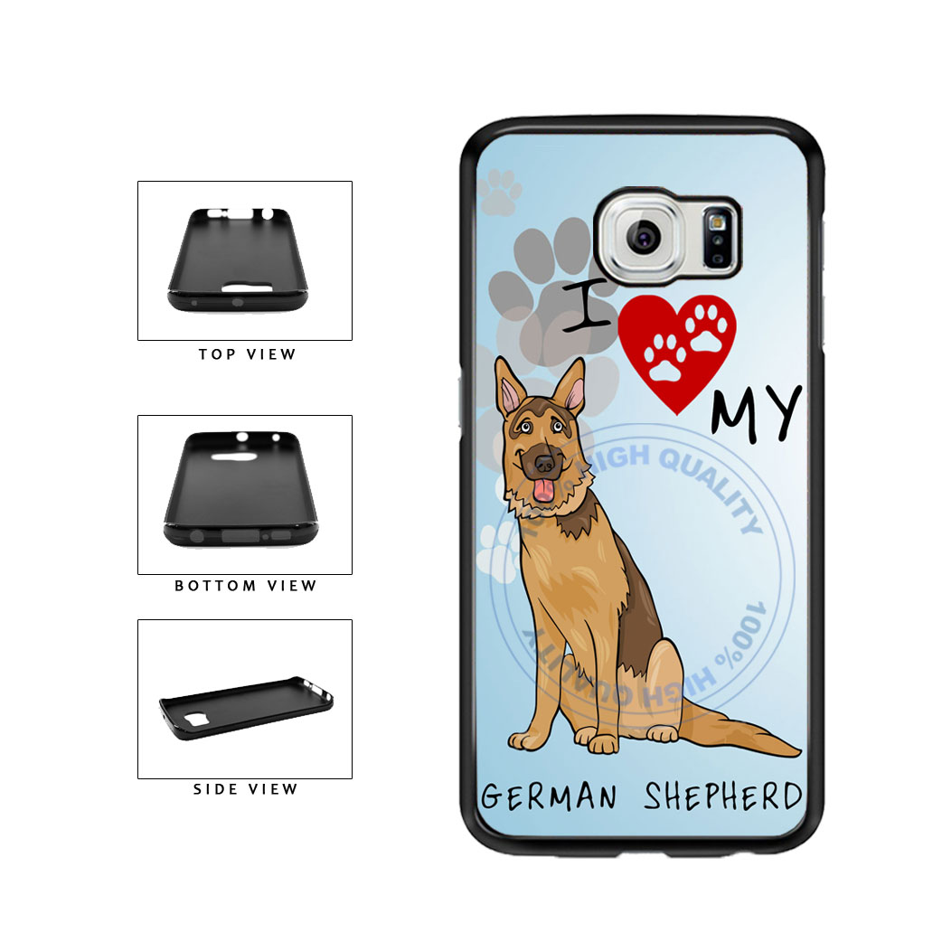 I Love My German Shepherd Dog Lover TPU Rubber SILICONE Phone Case Back Cover For Samsung Galaxy S6 Edge G925 includes BleuReign(TM) Cloth and Warranty Label