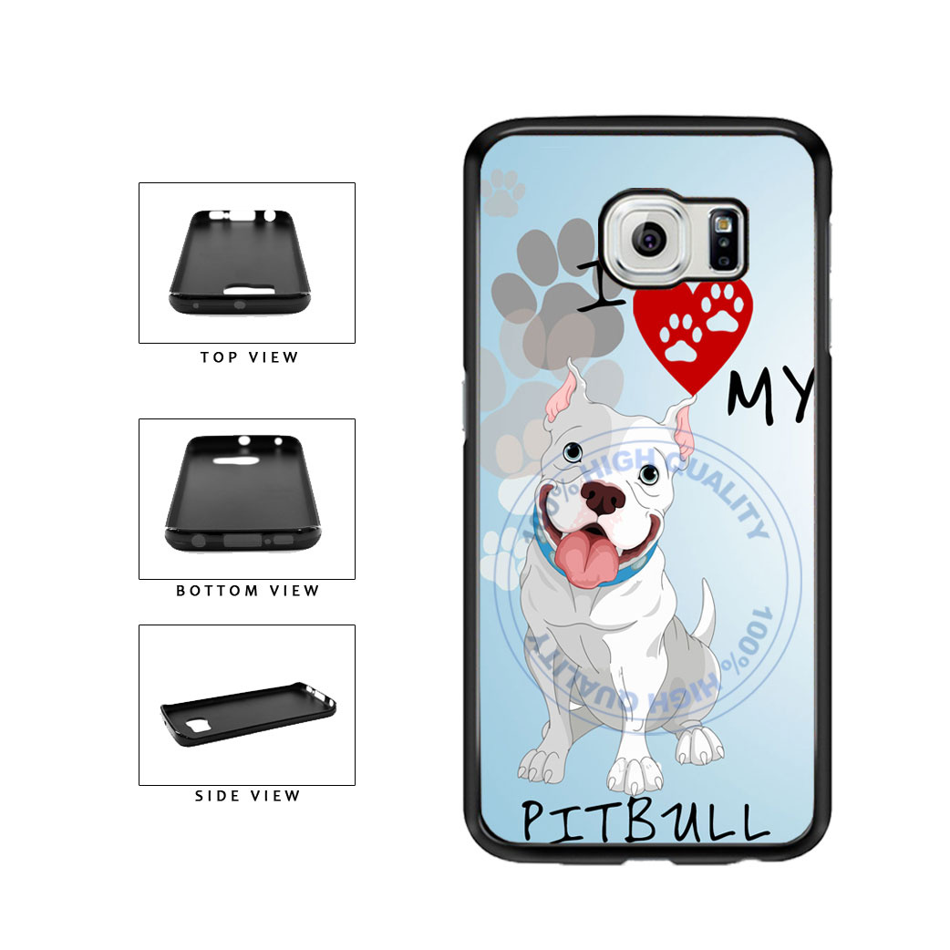 I Love My Pittbull Dog Lover TPU Rubber SILICONE Phone Case Back Cover For Samsung Galaxy S6 Edge G925 includes BleuReign(TM) Cloth and Warranty Label